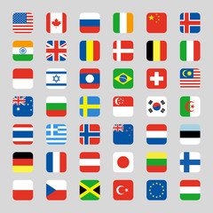 Collection of flag icon rounded square flat vector illustration