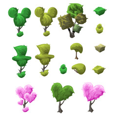 Big topiary tree set of various forms