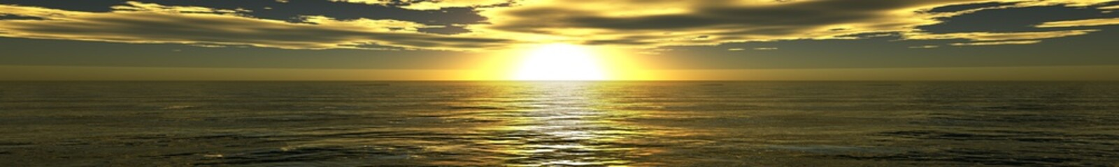 panorama of sea sunset, banner, 3D rendering