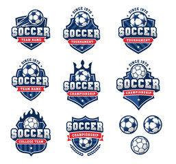 Vector football or soccer logos set 2