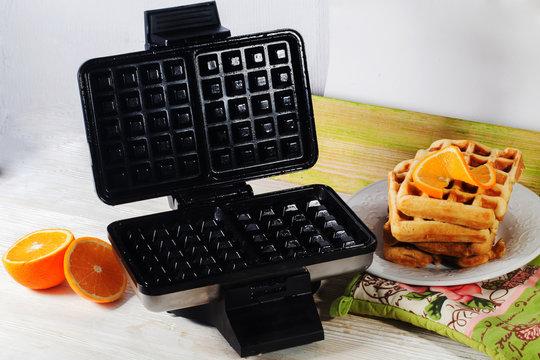 Viennese waffles waffle iron pile of orange Belgian Prague
