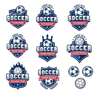 Vector football or soccer logos set 2