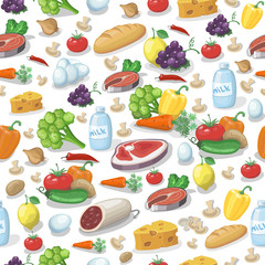 Everyday food products seamless pattern