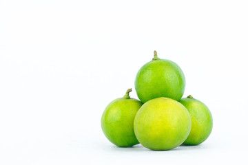 Lime ( lemon ) are high in vitamin C vegetable fruit food on the white background isolated