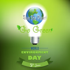 World environment  day background with concept bulbs and globe on green background