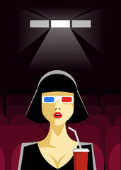Woman Sitting in the Cinema and Watching a Movie. Colorful Vector Illustration.