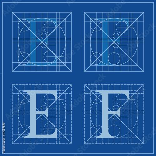 Designing initials letters e and f blueprint stock image and designing initials letters e and f blueprint malvernweather Choice Image