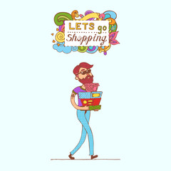 Happy doodle Consumer with a full shopping bags in shop. Shopper. Sales. Funny cartoon character. Vector illustration. Isolated on white background