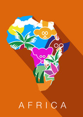 Africa. Silhouette of the continent, including animals within  boundaries in image. Vector illustration.