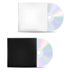 Two compact discs in light and dark blank covers