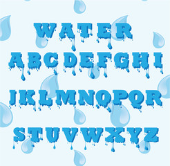 Vector of Water font made of water