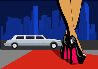 Sexy leg with city. Female legs in high heels walk on the red carpet. Vector illustration