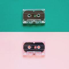 Retro cassette tape on pastel color background, minimal style