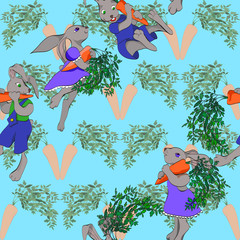 rabbits and carrots seamless background