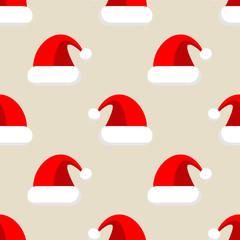 Icono plano patrón con gorro de Papa Noel sobre fondo beige