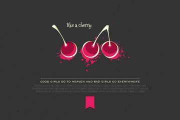 set of colorful cherry icons isolated on black background. vector fresh fruit banner design. cool, delicious natural product branding, package template. purity concept illustration