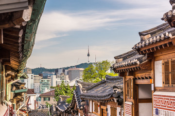 Bukchon Hanok Village in Seoul, South Korea..