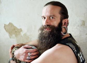 bearded men with piercings