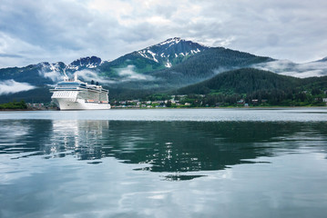 Cruise ship at a port in Juneau, Alaska