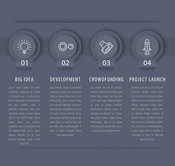 Startup infographic design elements, 1, 2, 3, 4, steps, timeline in gray, vector illustration