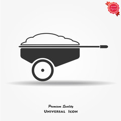 wheelbarrow icon vector button logo symbol concept.