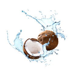 Water splash with fruits isolated on white backgroud. Fresh coconut