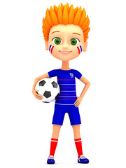 Boy soccer player with ball on white background. 3d render illus