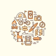 Vacation, camping, hiking, adventure, extreme sports, outdoor recreation. Set of line vector icons.
