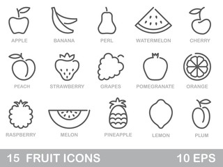 Stylized outlines of fruit. Vector icons
