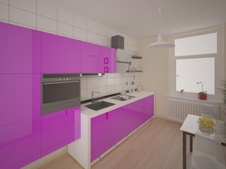 Stylish modern kitchen with purple furniture.