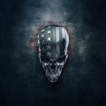 American horror in metal / 3D illustration of grungy metal skull formed from pieces of USA flag
