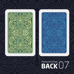 The reverse side of a playing card for blackjack other game with a pattern