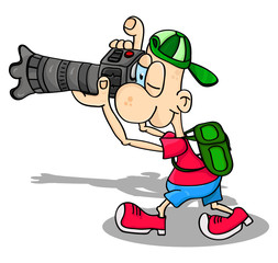 Vector photographer, young man with camera and backpack taking photos