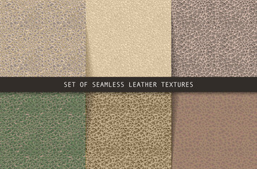 Set of seamless leather textures.