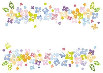 カラフルな花の飾り枠イラスト