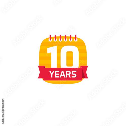 10 Anniversary Calendar Logo Number 1 One 10th Years Calendar Icon
