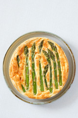 Asparagus tart with egg and cheese filling