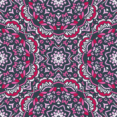 Ethnic Abstract Floral Vector Pattern