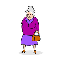 Funny old woman with bag. Grandmother walking. Colorful cartoon