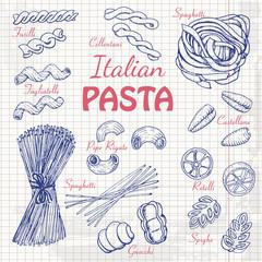 Set Italian pasta on paper
