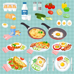 Set of pictures cooked eggs. Vector colorful illustration in flat style. Egg Breakfast