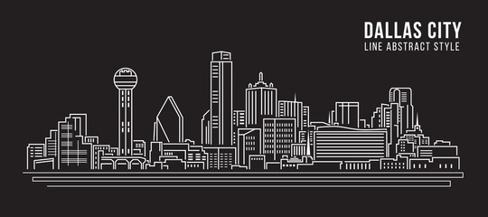 Cityscape Building Line art Vector Illustration design - Dallas City