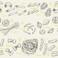 Seamless pattern with Italian pasta