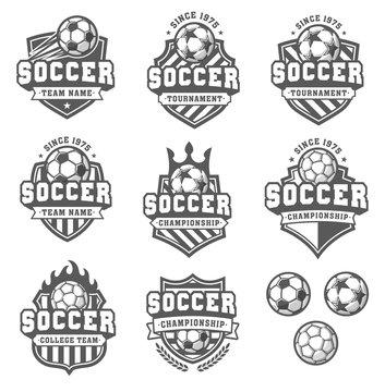 Vector Greyscale soccer logos