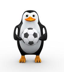 3d penguin holding soccer football