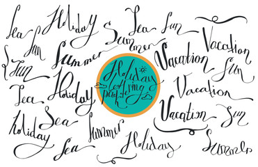Vector collection of lettering, dedicated to summer vacation, with words sea, sun, vacation, holiday, summer. Isolated on white background hand drawn letters in script style, drawn with liquid ink.