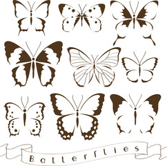 Set of decorative butterflies