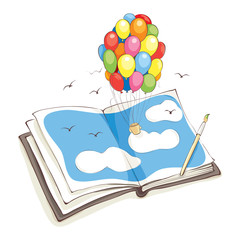 Bright impression/Hot Air Balloon made of colored balloons flying out of the book or album