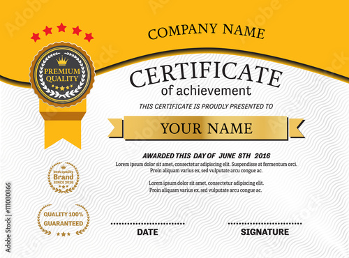 Gold medal yellow background certificate template vector gold medal yellow background certificate template vector illustration design eps illustrator 10 yelopaper Images