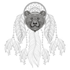 Hand drawn zentangle Dreamcatcher with Bear head for adult color